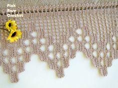 \ PINK ROSE CROCHET /: Barrado de Crochê Bege para Toalha de Rosto Zebra