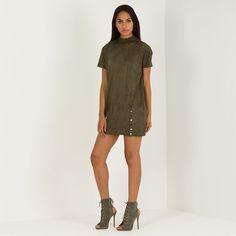 Suede T-Shirt Dress - Khaki