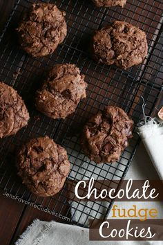 These chocolate fudge cookies are for serious chocolate lovers only! When the dough tastes like fudge, so do the cookies! Cookie Recipes, Dessert Recipes, Desserts, Chocolate Fudge Cookies, Chocolate Lovers, Yummy Cookies, Snacks, Baking, Sweets