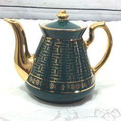 Hall Philadelphia Teapot Teal 22K Gold Basket Weave Pattern 6 Cup Vintage 080GL #HALL