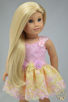 "American girl doll clothes "" Formal short length dress "" OOAK"