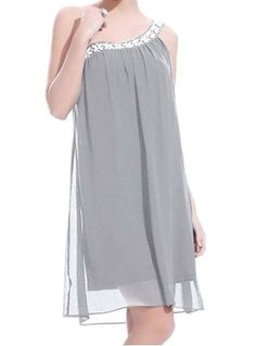 Stylish One-Shoulder Sleeveless Studded Spliced Women's Dress