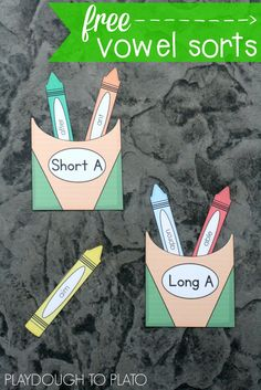 Free Long and Short Vowel Sound Sort. What a motivating way to practice vowel sounds with kids! These would be fun word work stations or literacy centers.