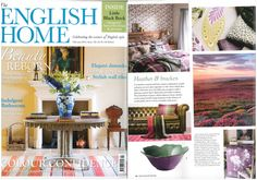 English Home February 2016 issue 'Heather & Bracken' featuring Rachel Bates hand-painted Limoges porcelain large flower serving bowl, amethyst with emerald inner