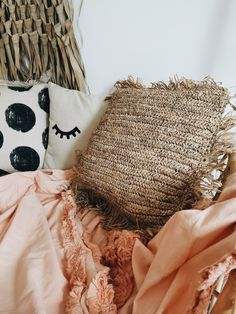 On trend raffia cushion cover woven back and front with concealed zip Measuring 45 x 45 cm A fab boho addition scattered on the floor or sofa/bed Large Round Mirror, Juju Hat, Tribal Feather, Boho Cushions, Dark Interiors, Cotton Throws, Black Feathers, Home Decor Accessories, Cushion Covers