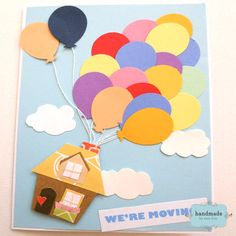 This detailed paper crafts card is adorable. Up Pixar, Disney Pixar Up, Invitation Cards, Invitations, Disney Crafts, 2nd Birthday, Party Themes, Balloons, Card Making
