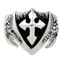 Sterling Silver Dragon Shield Cross Ring