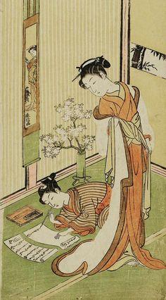 """""""Woman Watching a Young Man Writing a Letter"""".  Ukiyo-e woodblock print.  About 1768, Japan, by artist Suzuki Harunobu."""