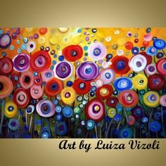 POPPIES in the Sunset-modern original vibrant colorful artwork made and shipped from American artist Luiza Vizoli. Buy American. www.artbyluizavizoli.com