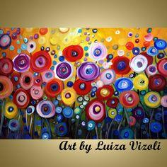 POPPIES in the Sunset-modern original vibrant colorful artwork made and shipped from American artist Luiza Vizoli. Buy American. www.artbyluizavizoli.com