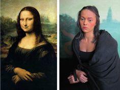 Teens make paintings come alive: tableau vivant of Leonardo's Mona Lisa