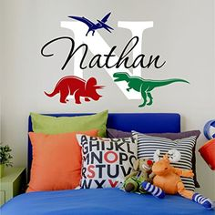 """Nursery Boys Name and Initial Dinosaurs Personalized Name Wall Decal 34"""" W by 22"""" H, Boys Nursery Name Decals, Boys Dinosaur Wall Decals, Wall Stickers, Boys Decals PLUS FREE HELLO DOOR DECAL"""