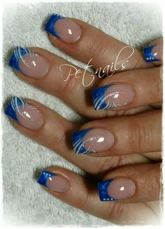 French tip nails, blue french manicure, french tips, french nail art, frenc Fingernail Designs, Blue Nail Designs, French Nail Designs, French Nails, French Toes, French Blue, Blue Nails, Glitter Nails, Red Toenails