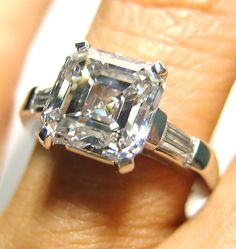 Wishlist? Stunning square ASSCHER cut 3.01CT Diamond set with 2 long side baguettes,with the weight of 0.21ct. Tiffany style setting - TreasurlybyDima || Asscher Cut Diamond