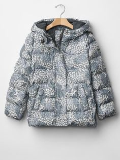 Girl Puffer Winter Warm Jacket Floral Grey Lightweight GAP ColdControl $98 21GJ #GapKids #PufferJacket #Everyday