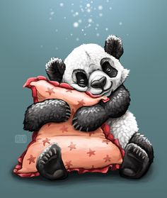 Illustration of a fluffy panda hugging a pink pillow, inspired by quirky couple pet names - by Alida Loubser (Artwork medium: Digital painting in Adobe Photoshop, Wacom Intuos tablet) Panda Hug, Pink Pillows, Wacom Intuos, Pet Names, Tigger, Bowser, Cuddling, Disney Characters, Fictional Characters