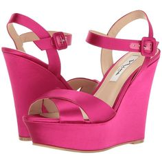 Nina Jinjer (Magenta Crystal Satin) Women's Wedge Shoes (115 AUD) ❤ liked on Polyvore featuring shoes and sandals