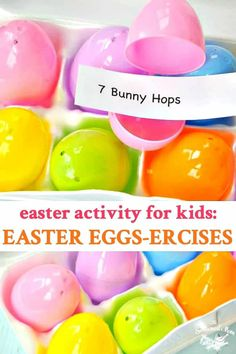 Looking for a fun Easter Activity for Kids? These Easter Eggs-ercises are a great way to celebrate the holiday while getting your little ones up and moving! holiday activities for kids fun Easter Activity for Kids: Easter Eggs-ercises Easter Eggs Kids, Easter Activities For Kids, Spring Crafts For Kids, Hoppy Easter, Easter Ideas For Kids, Easter Subday, Fun Easter Games, Easter 2020, Easter Stuff