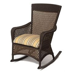 Lloyd Flanders 71336 Grand Traverse Porch Rocker available at Hickory Park Furniture Galleries Wicker Furniture Cushions, Outdoor Wicker Furniture, Patio Cushions, Wicker Chairs, Outdoor Decor, High Back Accent Chairs, Parks Furniture, Furniture Ideas, Furniture Design