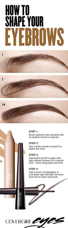 How to Shape your eyebrows: Filling in your eyebrows doesn't have to be a lengthy process. Keep it simple by using a brow powder or pencil to define a bottom line, and then smudge upwards and blend. Click here for the easy instructions.