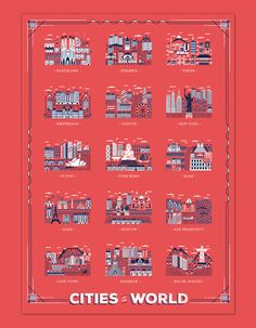 London-based, Italian illustrator and graphic designer Daniele Simonelli created the charming poster below of fifteen cities with their iconic landmarks for the travel app Great Little Place. You c…