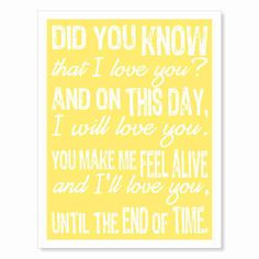 Typography Art Print - Until the End of Time - sunshine yellow white…