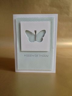 Butterfly birthday card - Cheveron background