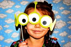 """Love the idea of a """"photo booth"""" area for a toy story party. Just hang up a cloud sheet or fabric and a lot of the extras would be easy"""