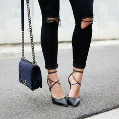 lace-up heels + velvet chanel