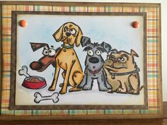 Tim Holtz Crazy Dogs stamps card.