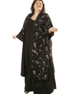 Beautiful bling all over a lightweight black silk crepe Calf-length Kimono from Peggy Lutz Plus. www.plus-size.com