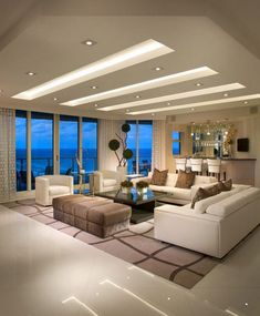 Simple Living Room Lighting recessed around the edge and a light ...