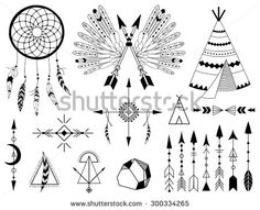 Hand drawn vector tribal elements. Aztec signs and symbols. - stock vector