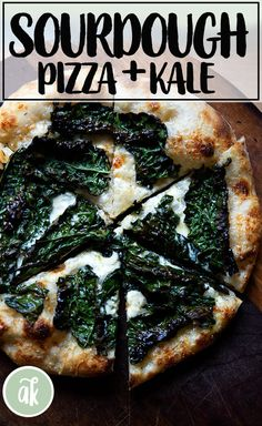 Sourdough Pizza: Yes. You. Can. There is nothing tricky about making sourdough pizza dough. All you need is 4 ingredients + a little bit of time, and you're on your way to pizza perfection. This post shows you step by step how to make sourdough pizza. There is video guidance for every step of the way. This is a favorite combo: kale + creme fraiche. #sourdough #pizza #simple #kale