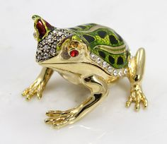 Horned Frog Jewelry Box. Unique Crystal Horned Frog Trinket Box Jewelry Gift on Etsy, $74.00
