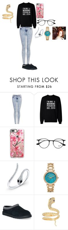 """""""Christmas outfit 1 First year (Rose Lillian Potter)"""" by iikathxrine on Polyvore featuring Topshop, Casetify, Ray-Ban, Anne Sisteron, MICHAEL Michael Kors, UGG Australia and Iconery Basics"""