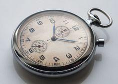 Russian Captain Pocket Watch Military Chronograph Slava 2ГЧЗ 1954 USSR Molnija #Slava