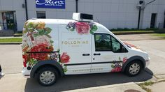 Ford Transit with custom-designed SkinzWrap for Emporium Pies in Dallas, TX. Flower Truck, Flower Car, Van Signage, Vehicle Signage, Floral Vans, Eco Friendly Cars, Van Wrap, Van Design, Lifted Ford Trucks
