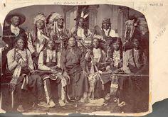 Standing L-R: Jose Merivalle, Spotted Tail II (Sicangu), Touch The Clouds (Mniconjou), Hollow Horn Bear (Sicangu), White Tail (Mniconjou), William Garnett (aka Billy Hunter) Sitting L-R: Red Bear (Itazipco), Ring Thunder (Sicangu), Spotted Tail (Sicangu), Good Voice (Sicangu), Little Hawk (Sicangu), Swift Bear (Sicangu) – 1877