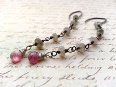 Gemstone Earrings Long Rosary Chain Gray by TamiLopezDesigns, $40.00