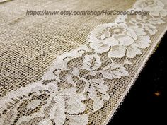 Country wedding table runner burlap and lace by HotCocoaDesign