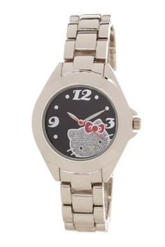 {Hello Kitty Black Glitter Face Silver Watch} - I like it but I don't know if I could bring myself to wear it!
