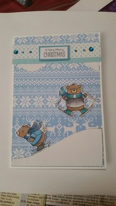 Beary Christmas Card - beautiful card for friends, who like skiing