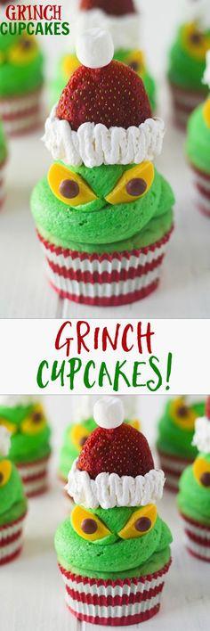 Grinch Cupcakes -- step by step photos, anyone can manage these! Perfect for Christmas parties. I love how the grinch stole Christmas!!