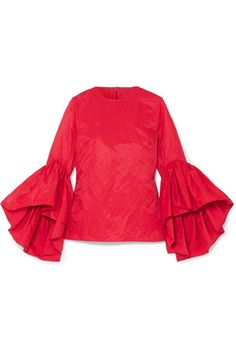Marques' Almeida - Ruffled Crinkled-taffeta Top - Red