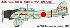 """AI-208 was flown by PO3c Tokuji Iizuka during training.  In October 1941, the orders came down for Vals and Kates of the Kido Butai to receive camouflage.  One of the """"M"""" series of colors called """"hairyokushoku"""" [translated """"gray-green"""", greenish gray] was used  on so many Japanese WWII aircraft, was used on all Zeros at Pearl Harbor, but also was applied to select Akagi's Vals  and Kates and Kaga's Kates."""