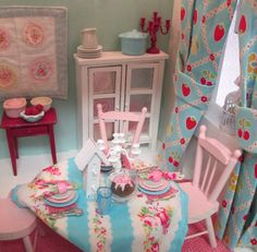 Shabby Style Table Table Setting and 3 place settings in Pink by RibbonwoodCottage