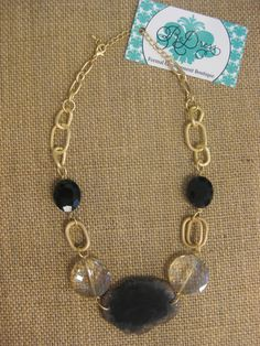 Black & Gold Stone Necklace  $25
