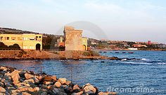 Travel Series - Europe, Italy - Old buildings and sea, Civitavecchia, Italy.