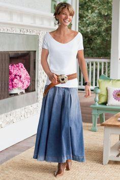 Pleated Denim Skirt I - Contour Waistband, Inverted Pleats, A-line, Vintage Denim, Classic Fit | Soft Surroundings
